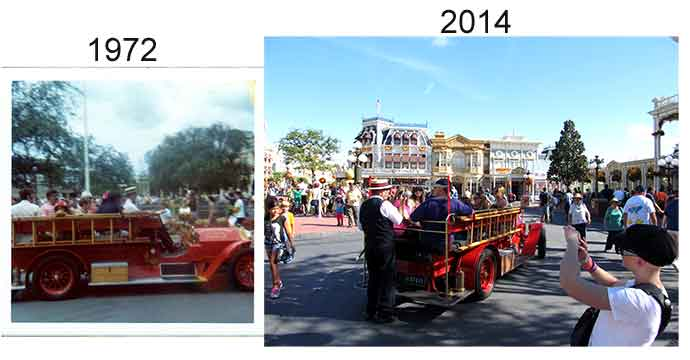 Disney Magic Kingdom fire truck in 1972 compared to 2014