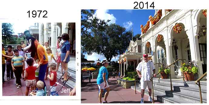 1972 Magic Kingdom City Hall and how it looks in 2014