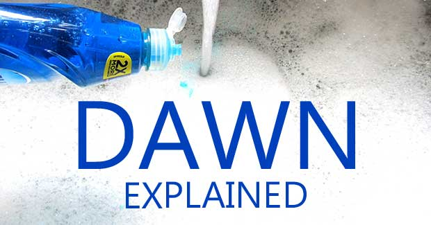 Blue Dawn dishwashing liquid being poured into a sink full of bubbles.